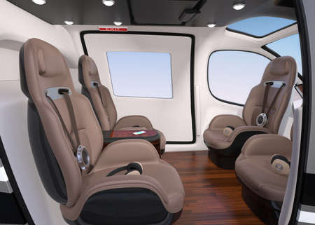 Side view of Passenger Drone Interior. Front passenger seats turned backward. 3D rendering image. Archivio Fotografico - 107573107