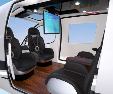 Interior of Passenger Drone equipped with ceiling monitor, luxury leather seats turned backward. 3D rendering image.