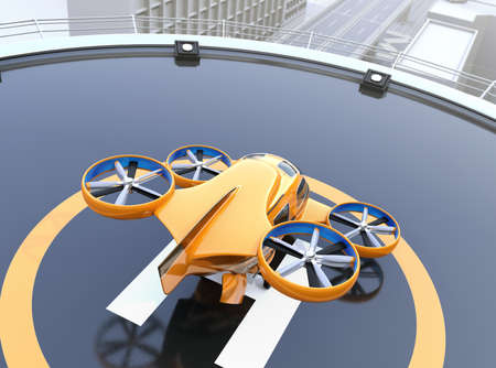 Rear view of yellow Passenger Drone Taxi on helipad. 3D rendering image.