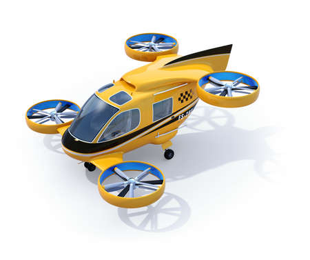 Orange Passenger Drone Taxi isolated on white background. 3D rendering image. Banco de Imagens - 107717692