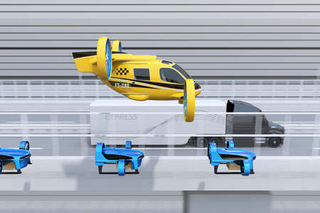 Side view of yellow Passenger Drone Taxi, fleet of delivery drones flying along with truck driving on the highway. 3D rendering image.