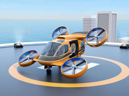 Orange Passenger Drone Taxi takeoff from helipad on the roof of a skyscraper. 3D rendering image. Stock Photo