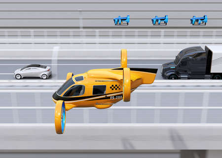 Orange Passenger Drone Taxi, fleet of delivery drones flying along with truck driving on the highway. 3D rendering image. 写真素材