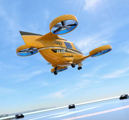Orange Passenger Drone Taxi takeoff from helipad. 3D rendering image.