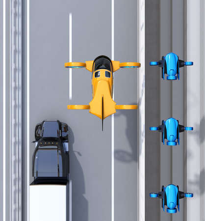 Aerial view of orange Passenger Drone Taxi flying over fleet of delivery drones and truck driving on the highway. 3D rendering image.