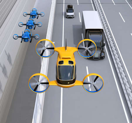 Front view of orange Passenger Drone Taxi, fleet of delivery drones flying along with truck driving on the highway. 3D rendering image.