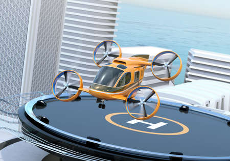 Metallic gray Passenger Drone Taxi takeoff from helipad on the roof of a skyscraper. 3D rendering image. Stock Photo