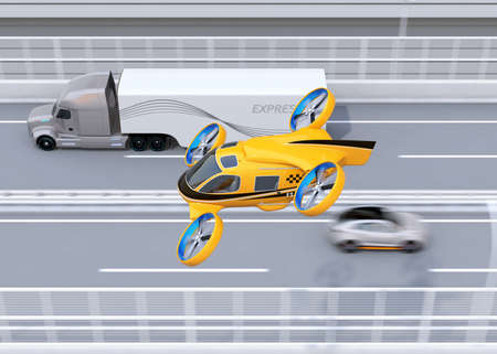 Orange Passenger Drone Taxi flying beside American truck on highway. 3D rendering image. Фото со стока
