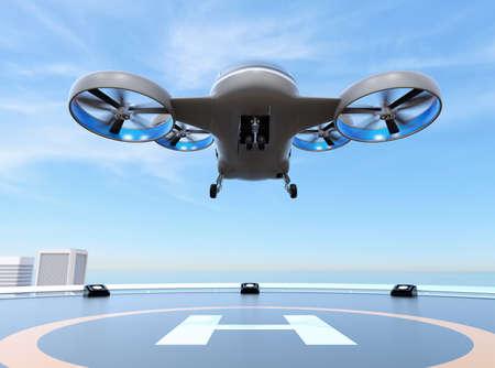 Taxi Drone de pasajeros gris metálico despegue del helipuerto en el techo de un rascacielos. Imagen de renderizado 3D.