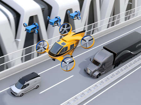 Orange Passenger Drone Taxi, fleet of delivery drones flying along with truck driving on the highway. 3D rendering image. Stock Photo