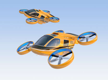 Orange Passenger Drone Taxis flying in the sky. 3D rendering image. Banco de Imagens