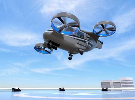 Metallic grauer Passagierdrohnen-Taxi-Start vom Hubschrauberlandeplatz auf dem Dach eines Wolkenkratzers. 3D-Rendering-Bild.