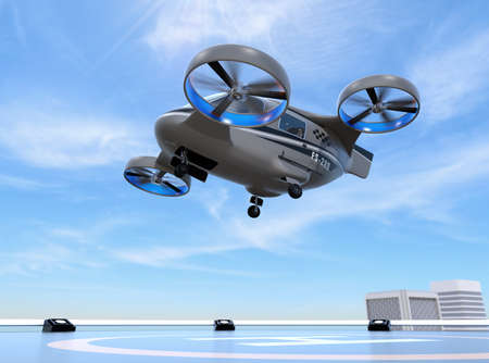 Metallic gray Passenger Drone Taxi takeoff from helipad on the roof of a skyscraper. 3D rendering image. Foto de archivo
