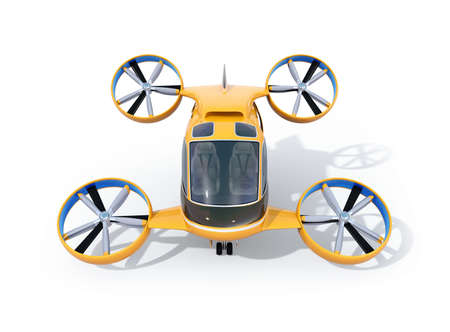 Front view of orange Passenger Drone Taxi isolated on white background. 3D rendering image.