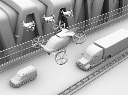 Clay rendering of Passenger Drone Taxi, fleet of delivery drones flying along with truck driving on the highway. 3D rendering image.