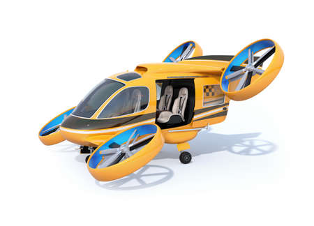 Orange Passenger Drone Taxi parking on white ground with door opened. 3D rendering image.