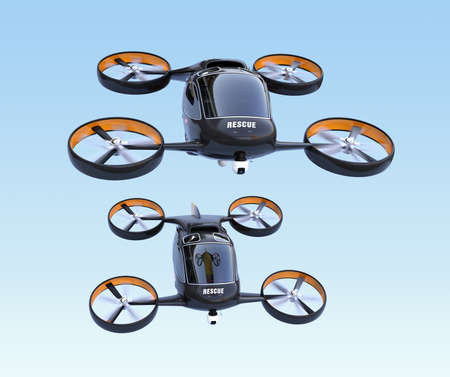 Front view of self-driving Rescue Drones flying in the sky. 3D rendering image.