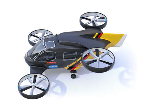 Self-driving Rescue Drone isolated on white background. 3D rendering image.