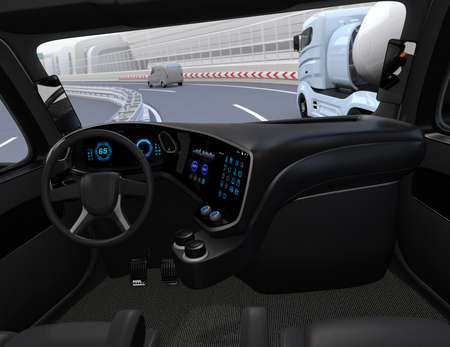 View from self-driving truck interior on highway. 3D rendering image. Stock Photo