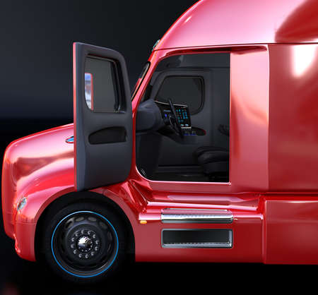 Side view of autonomous truck interior with black seats. 3D rendering image.