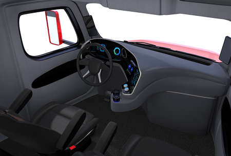Autonomous truck interior with black seats and touch screen instrument panel. 3D rendering image. Reklamní fotografie