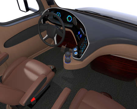 Autonomous truck interior with brown seats and touch screen instrument panel. 3D rendering image.