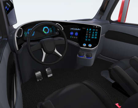 Autonomous truck interior with black seats and touch screen instrument panel. 3D rendering image. Imagens