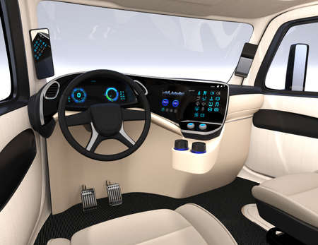 Autonomous truck interior with ivory color seats and touch screen instrument panel. 3D rendering image.