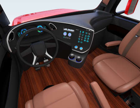 Autonomous truck interior with brown seats and flooring. 3D rendering image.
