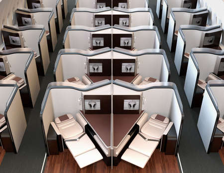 Front view of luxury business class suites interior. Reclining seat in fully flat mode. 3D rendering image.