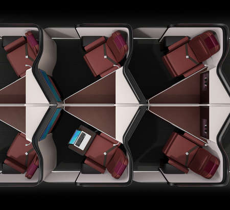 Top view of luxury business class suites interior on black background.  Laptop computer on tray table. 3D rendering image. Stock Photo - 109364607