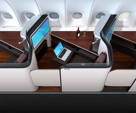 Luxury business class suite interior. Laptop connected to the monitor by Wi-Fi. 3D rendering image. Stock Photo