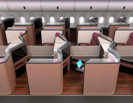 Side view of luxury business class suites in airplane cabin. 3D rendering image. Standard-Bild - 109364634