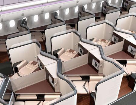 Luxury business class suites interior. Reclining seat in fully flat mode. 3D rendering image. Standard-Bild - 109364663