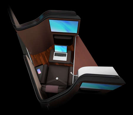 Luxury business class suite interior on black background. Smart phone recharging on side table. Laptop connected to the monitor by Wi-Fi. 3D rendering image. Standard-Bild - 109364675