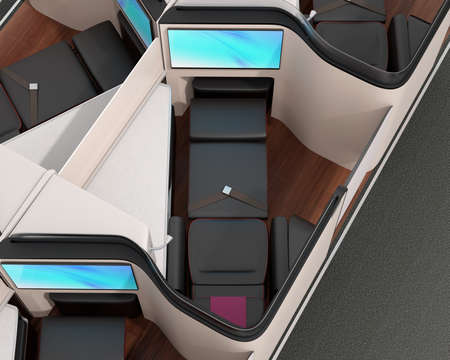 Close-up view of luxury business class suite. Reclining seat in fully flat mode. 3D rendering image. Standard-Bild - 109364679
