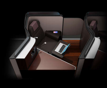 Luxury business class suite interior on black background. Smart phone recharging on side table.  Laptop computer on tray table. 3D rendering image.