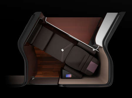 Top view of luxury business class suite interior on black background. Smart phone recharging on side table. Lie-flat seat in fully flat mode. 3D rendering image. Standard-Bild - 109364682