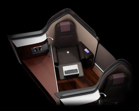 Luxury business class suite interior on black background.  Laptop computer on tray table. 3D rendering image. Standard-Bild - 109364687