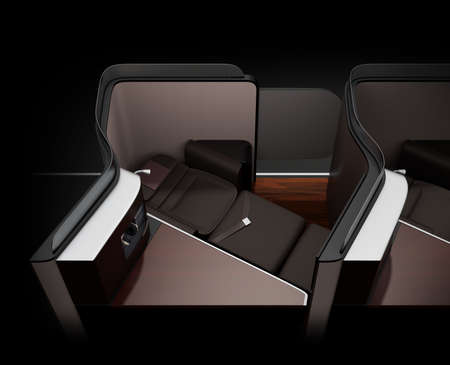 Luxury business class suite interior on black background. Reclining seat in fully flat mode. 3D rendering image.