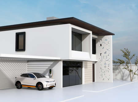 White electric SUV recharging in garage. 3D rendering image. Banco de Imagens