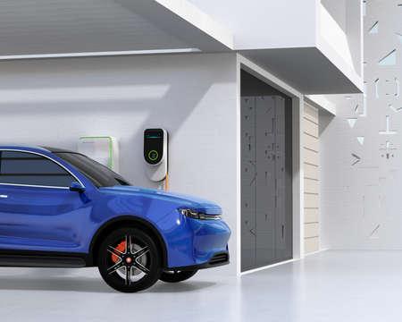 Blue electric SUV recharging in garage. 3D rendering image.
