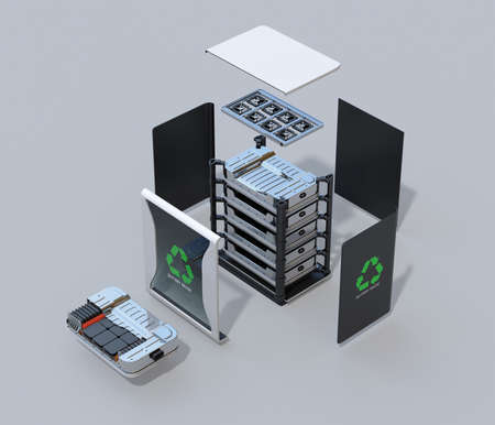 Exploded view of reused electric vehicle batteries component system with EV battery package cutaway view. EV batteries recycle concept. 3D rendering image. Archivio Fotografico - 110572622