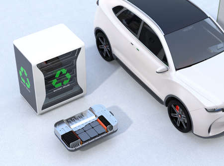 Electric vehicle, EV battery and reused EV batteries power supply system concept. 3D rendering image.