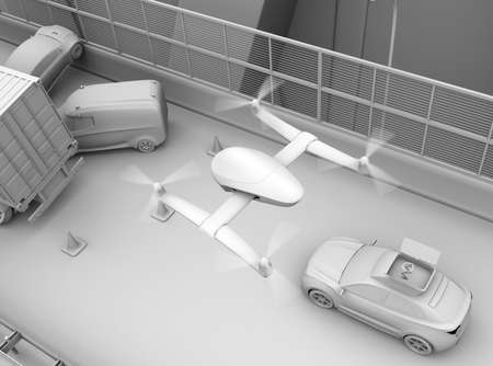 Clay rendering of rescue drone flying from electric rescue SUV to recording car accident on highway. 3D rendering image.