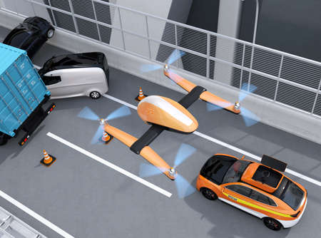 Aerial view of rescue drone flying from electric rescue SUV to recording car accident on highway. 3D rendering image. Stock fotó