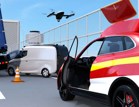 Electric rescue SUV released drone to recording car accident on highway. 3D rendering image. 写真素材