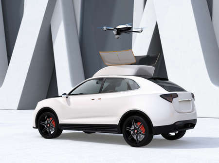 Rear view of white electric SUV released drone for leisure entertainment. 3D rendering image.