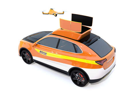 Quadcopter drone take off from electric rescue SUV on white background. 3D rendering image. 写真素材
