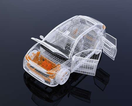Châssis en fil blanc de SUV électrique sur fond noir. Portes et capot gauche ouverts. Image de rendu 3D.